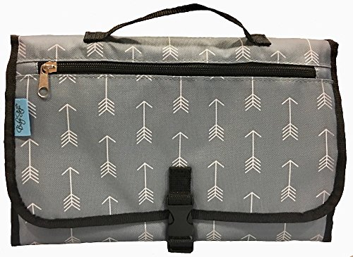 Sale - Baby Steps - The Best Portable Diaper Change Pad & Compact Diapers Bag -Travel Pronto Changing Station Mat - Grey Arrows - Perfect Baby Shower Gift or Present ()