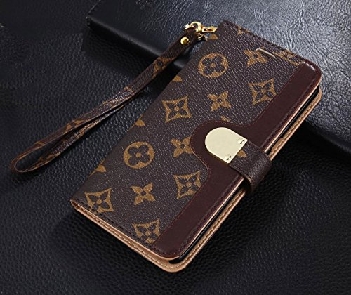 Gucci Louis Vuitton - Luxury Elegant Bifold Magnetic Leather Clip Pocket Women Men Girls Boys flip Wallet case for Apple iPhone 7 Plus and iPhone 8 Plus (Big Floral Monogram)