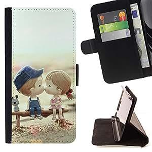 Momo Phone Case / Flip Funda de Cuero Case Cover - Pares lindos del beso del amor - LG G4c Curve H522Y (G4 MINI), NOT FOR LG G4