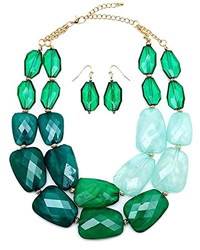 Multi Greens Emerald Jade Malachite Colored Resin Big Chunky Statement Necklace