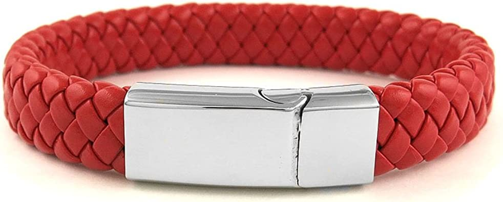 Men Women/'s Braided Leather Stainless Steel Magnetic Clasp Bracelet Red