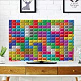 Jiahonghome Cord Cover for Wall Mounted tv Colorful Retro Gaming Computer Brick Blocks Image Puzzle Digital 90s Play Multicolor Cover Mounted tv W20 x H40 INCH/TV 40''-43''
