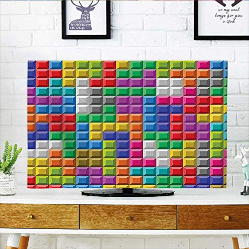 Jiahonghome Cord Cover for Wall Mounted tv Colorful Retro Gaming Computer Brick Blocks Image Puzzle Digital 90s Play Multicolor Cover Mounted tv W20 x H40 INCH/TV 40''-43'' by Jiahonghome