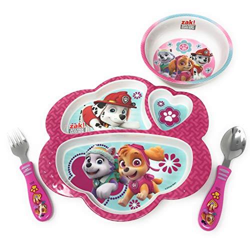 (Paw Patrol Girls Plates Bundle: Divided Plate, Cereal Bowl, Spoon & Fork Mealtime Set (4 Items) )