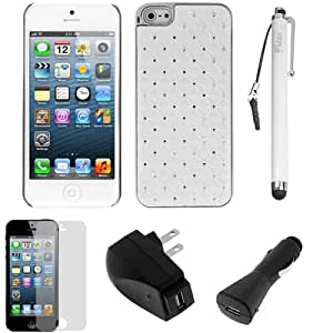 Evecase® White Rhinestone Diamond Bling Chrome Plated Hard Shell Cover Case plus Screen Protector, Stylus, Car & AC Charger Power Adapter for Apple® iPhone® 5, 6th Generation iPhone, The 2012 New iPhone