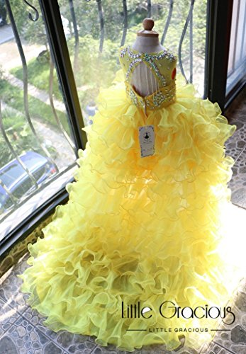 Rebecca Dress, Long Tail Dress, Little Gracious Pageant Dress, Golden Yellow Dress, Flower Girl Dress| Halloween Dress Thanksgiving LG024 by Little Gracious