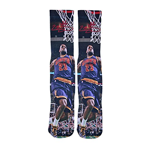 Forever Fanatics Cleveland Lebron James #23 Away Blue Basketball Crew Socks ✓ Lebron James Autographed ✓ One Size Fits All Sizes 6-13 ✓ Ultimate Basketball Fan Gift (Size 6-13, James #23) (Lebron James Style)