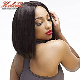 Helene Short Lace Front Wigs for Women Straight Bob Cut Synthetic Wig Heat Resistant High Temperature Hair Wig with Baby…