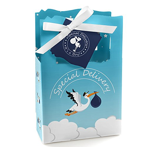 Boy Special Delivery - Blue It's A Boy Stork Baby Shower Favor Boxes - Set of 12