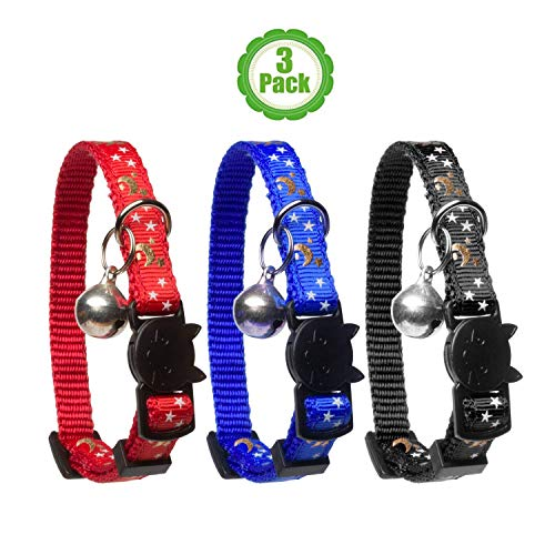 Cat Collar Stars and Moon, 3-Pack, Reflective with Bell, Solid & Safe Collars for Cats, Nylon, Kitty Collars, Pet Collar, Breakaway Cat Collar, Free Replacement