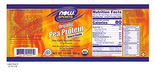 NOW Foods Organic Pea Protein, Natural Vanilla, 1.5 Pound