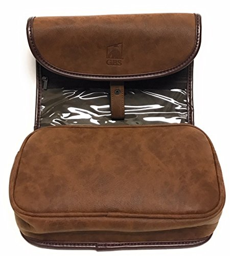 0319057ecd GBS Doppler Kit - Leather Travel Toiletry Roll Up Bag For Men Accessory  Organizer With Hanging