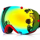 Zionor Lagopus XA Snowmobile Snowboard Ski Goggles and Spherical View Double Lens Anti-fog UV400 Protection Unisex Adult Multicolor Frameless Goggles