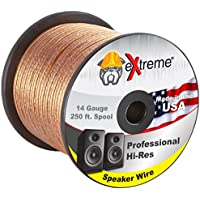 250 Feet 14 Gauge Pure Copper Core eXtreme Speaker Wire, Not CCA (Copper Clad Aluminum) for Optimal Audio Performance | Stranded Core and Polarity Stripe