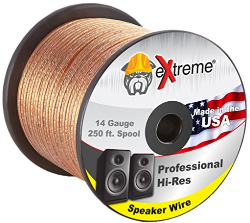 14 Gauge Speaker Wire 250ft - Pure Copper Core Stranded 2-Co