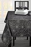 Benson Mills Twinkle Halloween Spider Web Fabric Metallic Tablecloth (Black, 60'' X 84'' Rectangular)