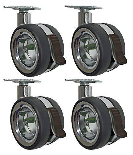 Headbourne 8291E Designer Casters 3 inch Polyurethane Hub-Free Twin Wheel Chrome & Black Designer Caster, 4 Pack