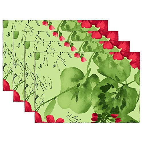 DKISEE Stain Resistant Placemats, Chloe Light Green Geraniums Anti-Skid Washable Polyester Table Mats Non Slip Washable Placemats, 12