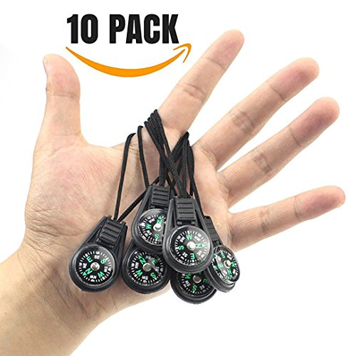 {ME SUPERB} Mini Survival Compass, Pack of 10 - Outdoor Camping Hiking Pocket Compass Liquid Filled Mini Compass For Paracord Bracelet Necklace Key chain by ME Superb Deals