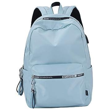 Mocha weir JIAYBL Mochila Escolar para niños, niñas y Mujeres, con Puerto USB (Azul): Amazon.es: Equipaje