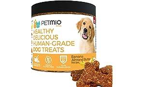 PetMio Bites - Human Grade Dog Treats, Banana Almond Butter Pumpkin Recipe, Certified Gluten Free, Certified Non-GMO, Grain Free, Healthy, All Natural, and Made in the USA (Single)