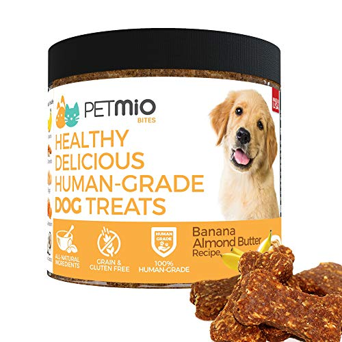 - PetMio Bites - Human Grade Dog Treats, Banana Almond Butter Pumpkin Recipe, Certified Gluten Free, Certified Non-GMO, Grain Free, Healthy, All Natural, & Made In the USA (Single)