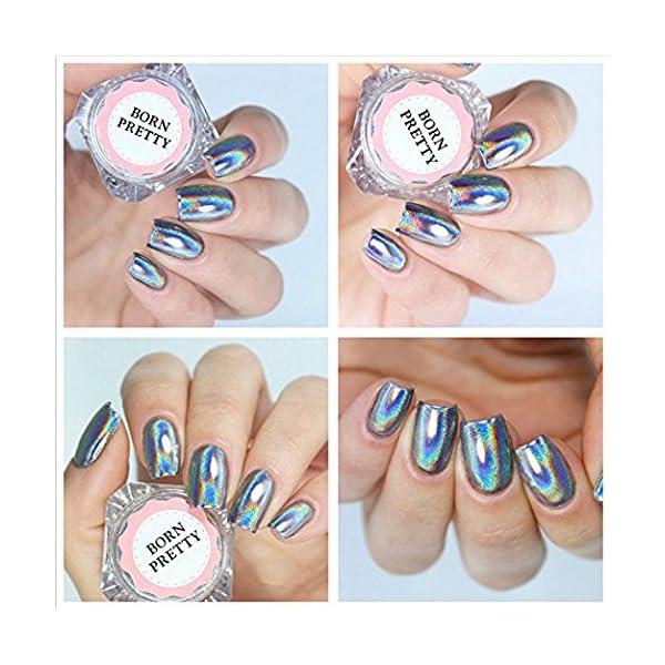 BORN PRETTY 9 Boxes Pearl Powder Nail Mirror Effect Colorful Nails Art Glitter Iridescent Metallic Manicuring Pigment 1G 8
