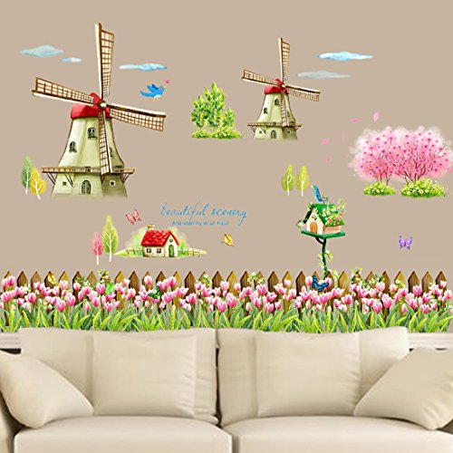 Wall Decal Dutch Windmill Tulip Flowers Butterflies Birds Home Sticker Paper Removable Living Dinning Room Bedroom Art Picture Murals DIY Stick Girls Boys kids Nursery Baby (2 Wall Decor 1 Windmill)