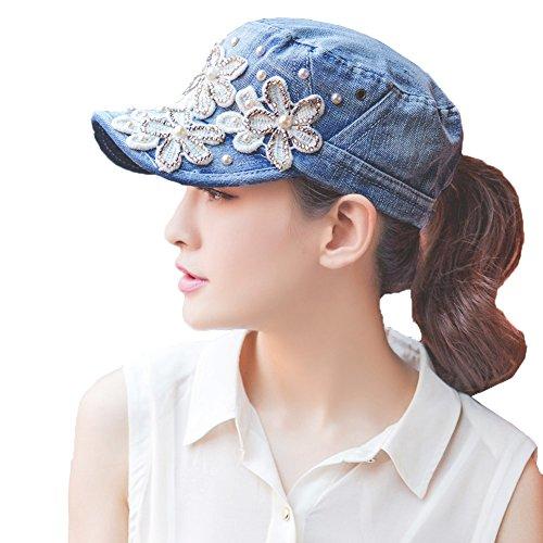 - Yimidear Female UV Sun Hat Cowboy Hat Lady Summer Outdoor Sports Visor Cap Women Baseball Cap Peaked Cap (Deep Blue)