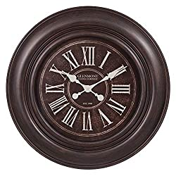 30 Glenmont  Distressed Black Wide Framed Roman Numeral Wall Clock