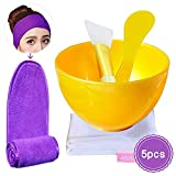 EC VISION DIY Facial Mask Mixing Bowl Set, Lady Facial Skin Care Tool Including Mask Bowel, Silicone Face Mask Brush, Stick Spatula, Spa Makeup Wrap Headband and Mesh Organizer Bag (5Pcs)