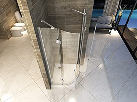 Mampara de Baño de Cristal Transparente, 90 X 90 mm, 8 mm, Semicircular Tapa do /: Amazon.es: Bricolaje y herramientas