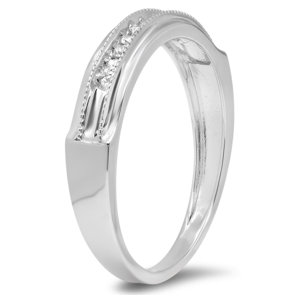 ctw Dazzlingrock Collection 0.16 Carat Round Diamond Mens Anniversary Wedding Band Stackable Ring Sterling Silver
