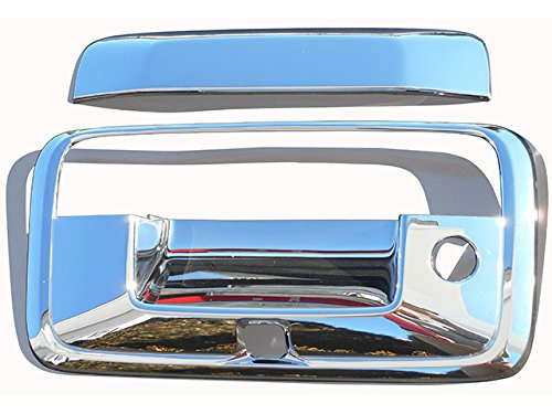 SILVERADO 2014-2018 CHEVROLET & SIERRA 2014-2018 GMC (3 Pc: ABS Plastic Tailgate Handle Cover Kit w/ camera access, 2/4-door) DH54184:QAA - Polished Tailgate Handle