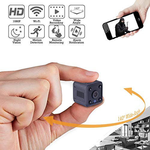 Spy Camera Wireless Hidden Cloud System WiFi Mini Cam Portable Video Recorder HD 1080P / 720P Monitor APP for Nanny Baby Pet Car Home Security with Motion Detection, Night Vision, Wide-Angle (1080P)
