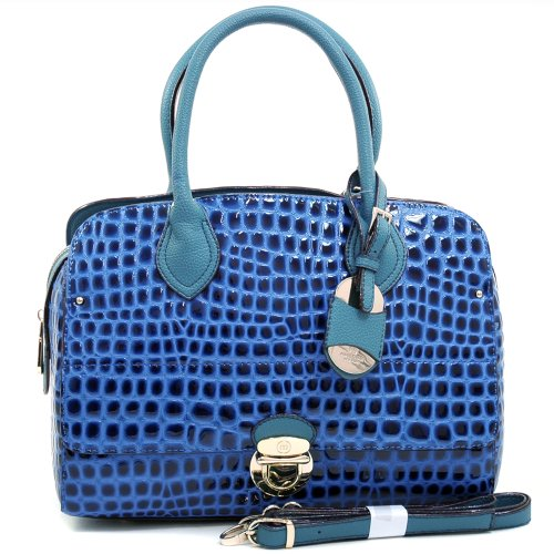 Anais Gvani Women's Croco Embossed Satchel w/Buckle & Gold Tag Accent -Blue