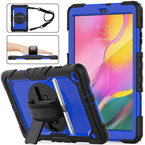 SEYMAC Stock Samsung Galaxy Tab A 10.1 T510/T515 2019 Case, Shockproof Full-Body Rugged Armor Case with 360 Rotating Stand Pencil Holder Screen Protector Hand Strap for Samsung Tab A 10.1(Blue+Black) (Otter Box For Samsung Galaxy Tab)