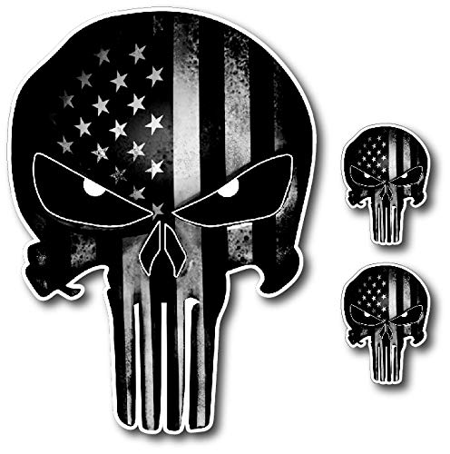 Pack of 3 Black and White Punisher Skull American Flag Vinyl Decal Stickers Car Truck Sniper Marines Army Navy Military Jeep Graphic (Punisher Skull Sticker)