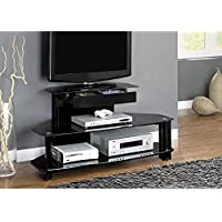Monarch Specialties I 2000 Glossy Black Wood Metal Tempered TV Stand, 48