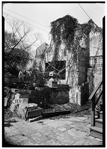 8 x 12 Photo 4. Historic American Buildings Survey, Arthur W. Stewart, Photographer March 16, 1936 South Elevation Outside Fireplace (Rear Building). - John Twohig House, Witte Mus 1933 83a by Vintography