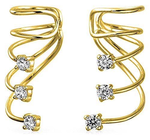 (Minimalist Triple Spiral CZ Wire Cartilage Ear Cuff Wrap Cubic Zirconia Helix Earring 14K Gold Plated Sterling)