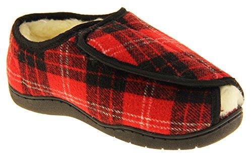 Footwear Studio Hombre Ajustable de Velcro Zapatillas Ortopédica Tartán Rojo (Zapatillas Abiertas)