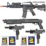 king arms green gas - BBTac Airsoft Gun Package - The Operator - Collection of 4 Airsoft Guns - Powerful Spring Rifle, Shotgun, Two SMG, 4000 BB Pellets, Great for Starter Pack Game Play