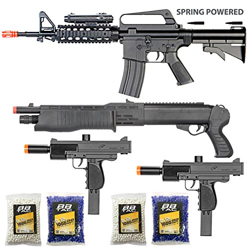 BBTac Airsoft Gun Package - The Operator - Collection of 4 Airsoft Guns - Powerful Spring Rifle, Shotgun, Two SMG, 4000 BB Pellets, Great for Starter Pack Game Play by BBTac
