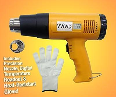 VViViD Professional Heat Gun Multi-Purpose Household Tool Including Precision Nozzle, Digital Temperature Readout and Heat-Proof Applicator Glove