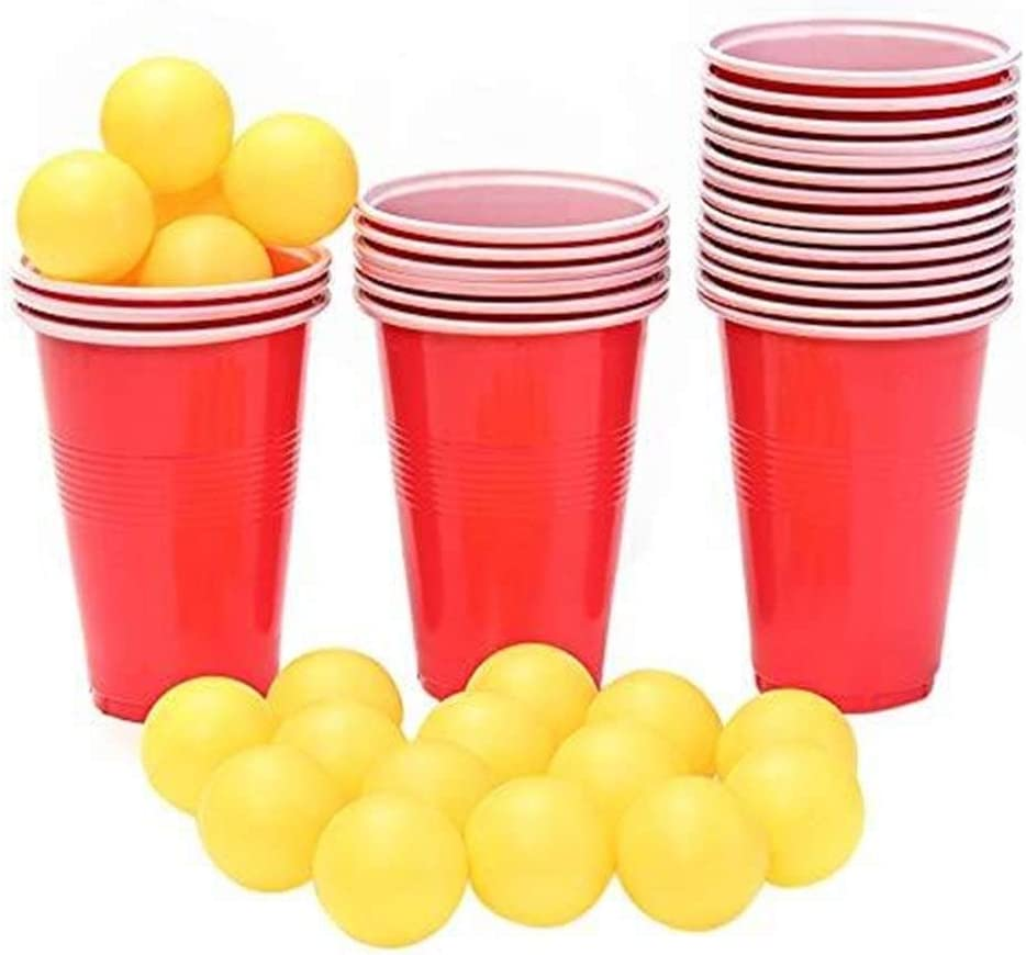Ljwjialo Tapa abatible Nuevos Suministros for Eventos Beer Pong Kit Party Fun 24Cups 24 Balls For Adult Table Top Juegos de Mesa Juego de Beber Pub Bar Barbacoa Regalo Prueba de Fugas