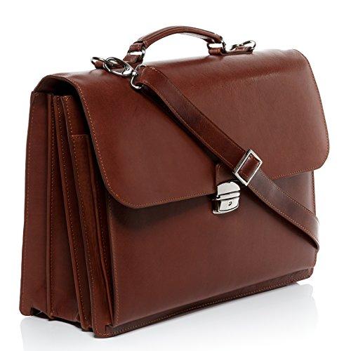 FEYNSINN® Aktentasche EMILIO - Herren Laptoptasche XL groß Ledertasche 15,4 Zoll Laptop Extra-Abtrennung - Businesstasche Schultergurt Herrentasche echt Leder hellbraun-cognac hellbraun-cognac
