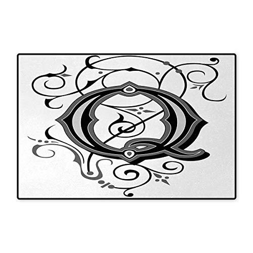 (Letter Q,Bath Mat,Flowers Flourishing Gothic Q Words Writing Artistic Style Aged Typography,Door Mat Indoors Bathroom Mats Non Slip,Black Grey White 16