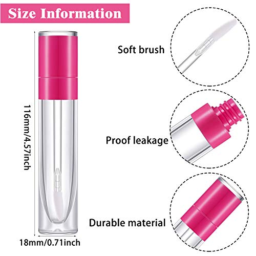 15 Pieces Lip Gloss Tube Empty Plastic Lipstick Sample Refillable Lip Balm Bottle Container and 3 Funnel for Women Girls Cosmetic, Liquid, Toiletry, Travel Home (Purple, Pink, Rose Red)