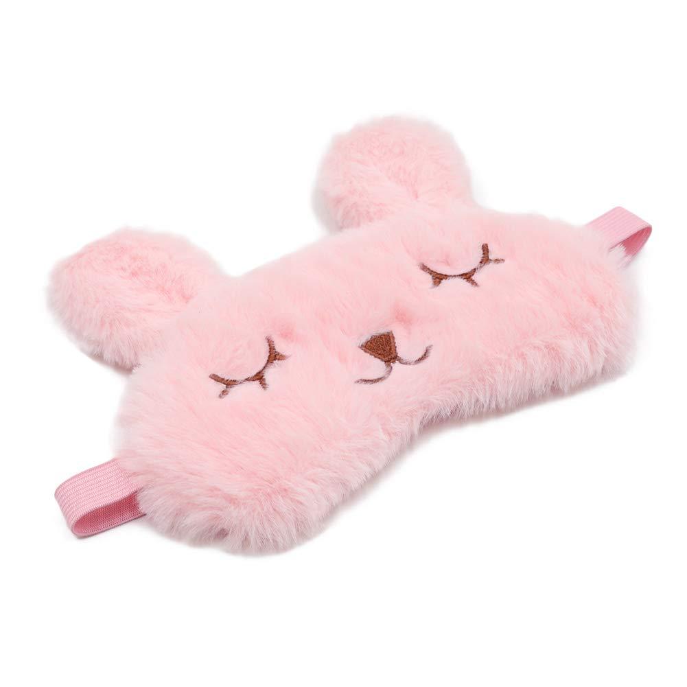 ZTL Cute Animal Eye Mask Soft Plush Sleep Masks for Women Girls Home Sleeping Traveling